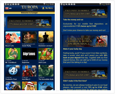 Europa casino Android app