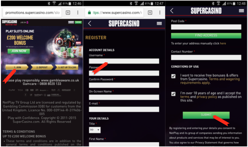 SuperCasino Registration Process